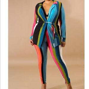 Plus Size Sexy 2 Piece Stripe Cardigan Set